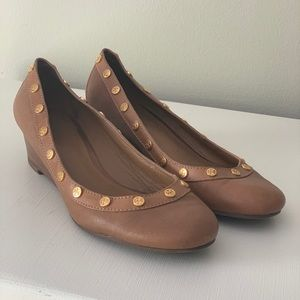 "Tory Burch Leather 2"" Wedges with Gold Logos"